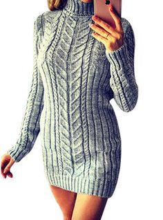 Women/'s Twist Vintage Woven Turtleneck Knit Solid Color Pockets Sweater Dresses