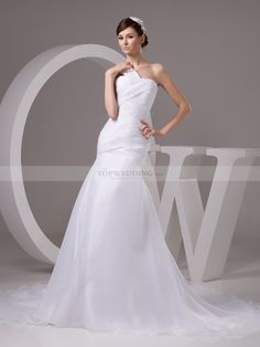 One Shoulder Mermaid Organza Satin Bridal Gown with Pleats