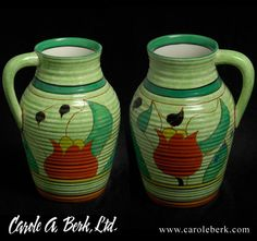 Clarice Cliff Cafe au Lait Green Tulips Lotus jug,beautiful condition, $3200.