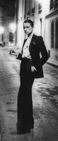 YSL's Le Smoking, an iconic look, photographed by Helmut Newton 1975. #ysl #fashion