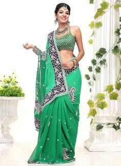 $171 Cbazaar #Gorgeous #Green #Georgette #Saree