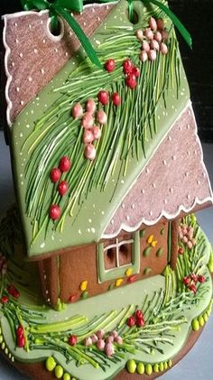Pine Tree Needles and Red Berries Christmas Gingerbread House. Gingerbread House Designs, Gingerbread House Parties, Gingerbread Village, Christmas Gingerbread House, Gingerbread Cookies, Christmas Goodies, Christmas Treats, Christmas Baking, All Things Christmas