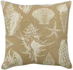 Beige Sea Shell Linen Beach House Pillow