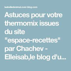 """Astuces pour votre thermomix issues du site """"espace-recettes"""" par Chachev - Elleisab,le blog d'une momoflinguée"""