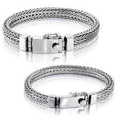 "Impressive High-Quality Small & Big Bracelets, made of Solid 925 Sterling Silver Two Style: Small or Big  Metal Purity: Solid 925 Sterling Silver Double-Lock Safety Made in Thailand Includes VY Jewelry Pouch that makes him a wonderful gift. SMALL Width: 0.25"" / 6.3mm Thickness:... more details available at https://perfect-gifts.bestselleroutlets.com/gifts-for-men/product-review-for-solid-925-sterling-silver-small-or-big-men-bracelet-made-in-thailand/"