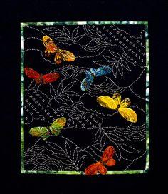 Kit sashiko papillons et Sashiko par Sylvia par QuiltingFoxes