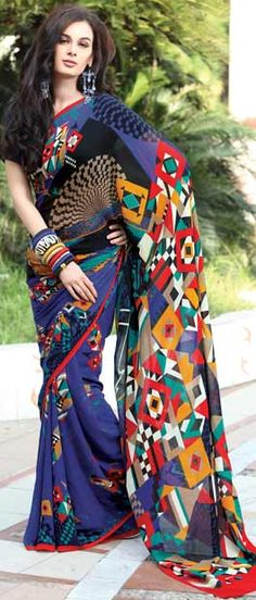 Multicolor Pure Georgette #Saree with #Blouse | Shop Here: http://www.utsavfashion.com/store/sarees-large.aspx?icode=smu682 | $99.96