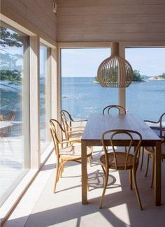 A view of the sea. A view of the sea. Dream Home Design, My Dream Home, House Design, Interior Architecture, Interior Design, Dining Nook, Cottage Interiors, Winter House, Home And Living