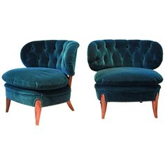 Otto Schulz, Pair of Cocktail Chairs | From a unique collection of antique and modern slipper chairs at https://www.1stdibs.com/furniture/seating/slipper-chairs/