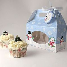 Cupcake boxes for 2 cupcakes - Snowman - Pack of 4  http://www.littlecupcakeboxes.co.uk/cupcakeboxes/multiple-cupcake-boxes.html #cupcake-boxes