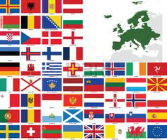 Set of flags and maps of all European countries and dependent territories All flags have accurate co Stock Vector