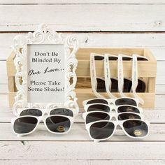 Personalized sunglasses are very useful during a beach or a summer outdoor ceremony. Remember, you want them blinded by your love blinded by your love, not the sun! These sunglasses are available in black of white and can be personalized with a choice of font styles and colors. #SunglassesGiftIdeaForGuests #SummerWeddingFavors #BeachWeddingFavors