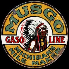 One of the more valuable porcelain signs being the Large Round Musco Gasoline with a depiction of an Indian Chief in the center.