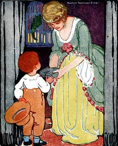 Pretty Mother and Child Vintage Illustration