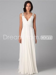 2014 Style A-line V-neck  Beading  Sleeveless Floor-length Chiffon White Prom Dress / Evening Dress