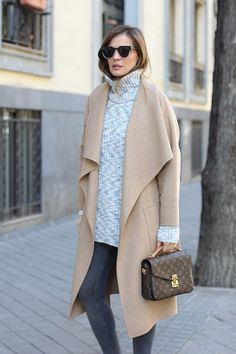 Casually cool in camel coat , LV bag #StreetStyle