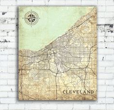 CLEVELAND Canvas Print OH Ohio Vintage map by NatalyBorichArt