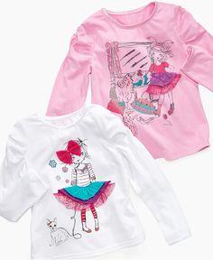 Love the appliques on these tees.  So Jenni Kids Shirt, Little Girls Long-Sleeve Tutu Girl Tee - Kids Girls 2-6X - Macy's $8.99 #MacysBTS