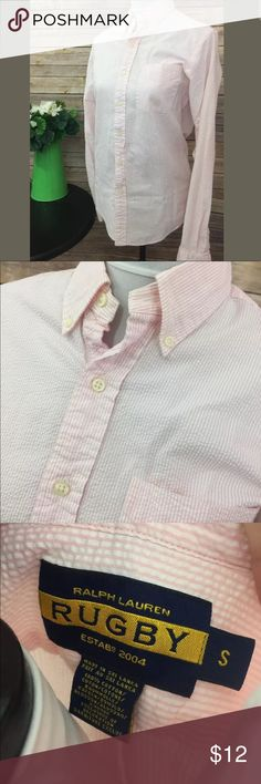 Ralph Lauren Rugby Women's Size Small Pink & White Ralph Lauren Rugby Women's Size Small Pink & White Stripes Button Up EUC  • 100% cotton • Size small • Pink and white button down • No buttons missing • Small spot on the left arm, see pictures • small holes on the right arm, see pictures  SMOKE FREE HOME! Ralph Lauren Tops Button Down Shirts