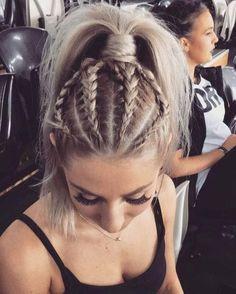 Dutch braids into a ponytail