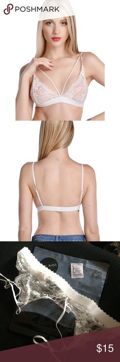 NEW white strappy bra - S NEW white strappy bra - S. Fits like normal UO Size S bralettes. I wouldn't suggest anyone bigger than 34C or 36B. Downsizing my closet! Not UO, tagged for traffic Urban Outfitters Intimates & Sleepwear Bras