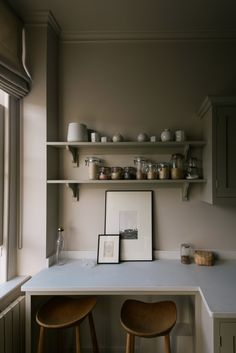 Shaker Galley Kitchen: a Stylish Small Design by deVol for the Founders of Cereal Magazine Small Galley Kitchens, Galley Style Kitchen, Devol Kitchens, Funky Kitchen, Rosa Parks, Cornforth White, Cereal Magazine, Wall Cupboards, Kitchen Shelves