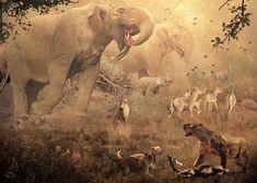 Deinotherium and Megantereon with cubs by Velizar Simeonovski