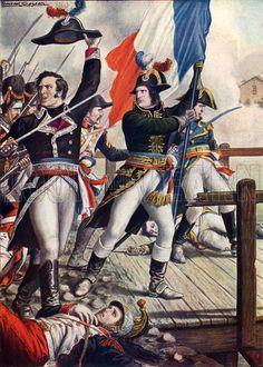 Napoleon Bonaparte at the battle of Arcole.