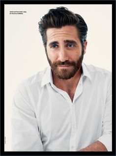 Appearing in a photo shoot for Esquire UK, Jake Gyllenhaal sports a white shirt by Dolce & Gabbana.