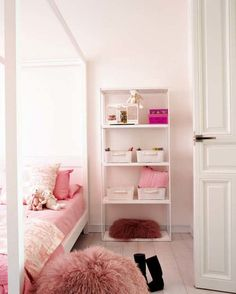 Lovely Bedroom Ideas For Young Women : Awesome White Young Women Bedroom Decoration with White Canopy Bed and White Open Shelving also Woode...