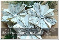 book page star ornaments