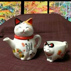 Teaheehee Japanese Cat, Japanese Tea Set, Japanese Cartoon, Cat Mug, Tea Accessories, Teapots And Cups, Maneki Neko, Tea For One, My Cup Of Tea