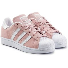 Adidas Originals Leather and Suede Superstar Sneakers ($99) ❤ liked on Polyvore featuring shoes, sneakers, white, adidas trainers, pink suede shoes, suede sneakers, leather sneakers and leather trainers