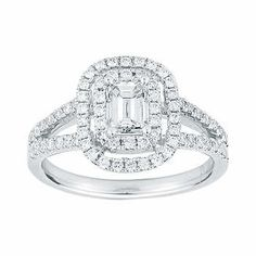 Emerald Cut and Round Brilliant Diamond Ring  (1.23 ctw)