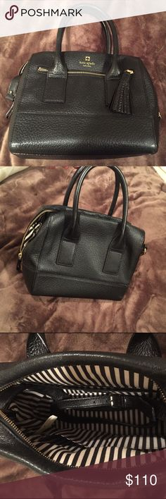 Kate spade black bag with shoulder strap Nearly new. Very very lightly used. No marks no stains on inside or outside. Shoulder strap. Black/white stripe lining. All working zippers and straps. kate spade Bags Shoulder Bags