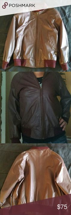 Etienne Aigner Brown Leather Jacket Size Small, 100% Brown Genuine Leather shell, 100% Acetate lining Etienne Aigner Jackets & Coats