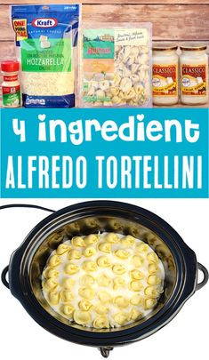 Crockpot Recipes Easy Meals - This Alfredo Tortellini Recipe is one of the EASIEST dinners you'll make all week! Just 4 ingredients and you've got a delicious meal the whole family will LOVE! Go grab Crockpot Dishes, Healthy Crockpot Recipes, Slow Cooker Recipes, Cooking Recipes, Delicious Crockpot Recipes, Dinner Crockpot, Frugal Recipes, Skillet Recipes, Cooking Gadgets