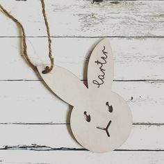 Custom Name Tag Bunny for Easter basketsThis listing includes 1 bunny tag with a nameThese wood tags are whitewashed on birch plywood and come with twineTags are Easter Baskets, Gift Baskets, Wood Tags, Wood Gifts, Plywood, Easter Bunny, Twine, Birch, Gift Tags