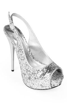 glitter sling back pump, also available in fuchsia and gold