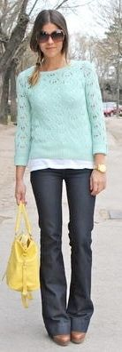 Outfit Posts: outfit post: dark wash bootcut jeans, mint sweater