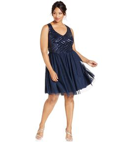 Trixxi Plus Size Sequin-Bodice Party Dress - Dresses - Plus Sizes - Macy's