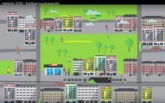 """Helsinki vuonna 2050 (Youtube). """"Yleiskaava ohjaa kaupungin kehittämistä pitkälle tulevaisuuteen. Sillä halutaan varmistaa edellytykset kaupungin kasvulle, asuntotuotannolle ja elinkeinoelämälle."""" (www.yleiskaava.fi)"""