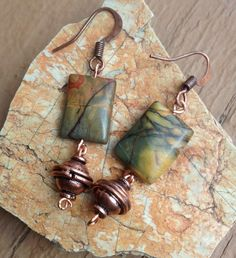 Picasso Jasper earrings In copper