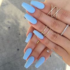 Nail - Matte nails have become super popular in the last year, and these 16 unique matt. - - Matte nails have become super popular in the last year, and these 16 unique matte nail designs will seriously blow you away! nails nail ideas trendy n. Periwinkle Nails, Sky Blue Nails, Blue Acrylic Nails, Blue Matte Nails, Pastel Blue Nails, Pastel Colors, Acrylic Nails For Summer Coffin, Blue Coffin Nails, Matte Nail Art