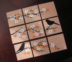 apricot peach light dark orange white cream flowers painting with birds paintings bird bedroom wall art original cherry blossom small gift