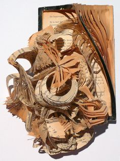 sculptural book pieces are by Dutch artist Boukje Voet