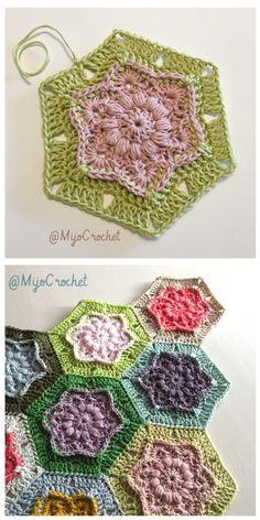 Crochet Flowers Pattern Wind Flower Hexagon Free Crochet Pattern - The free hexagon crochet patterns here will open up a whole world of options for you to make everything from adorable coasters to motif afghans. Hexagon Crochet Pattern, Crochet Flower Patterns, Crochet Blanket Patterns, Crochet Flowers, Free Pattern, Crochet Squares Afghan, Crochet Blocks, Crochet Afghans, Crochet Granny