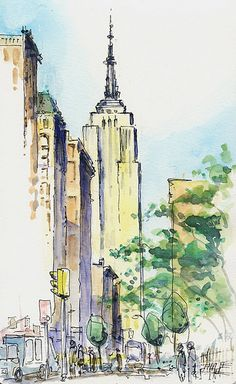 building york empire state sketch watercolor drawing urban landscape painting sketches flickr easy paintings 2009 peach giant james urbansketchers sketchers