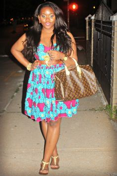 Belted African-print dress