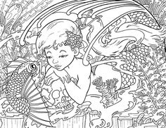 Copic Marker Tutorials - Under The Sea Coloring Page: The Secret Fairy Coloring, Colouring Pages, Coloring Pages For Kids, Adult Coloring, Coloring Books, Copic Markers Tutorial, Sea World, Copics, Cute Characters